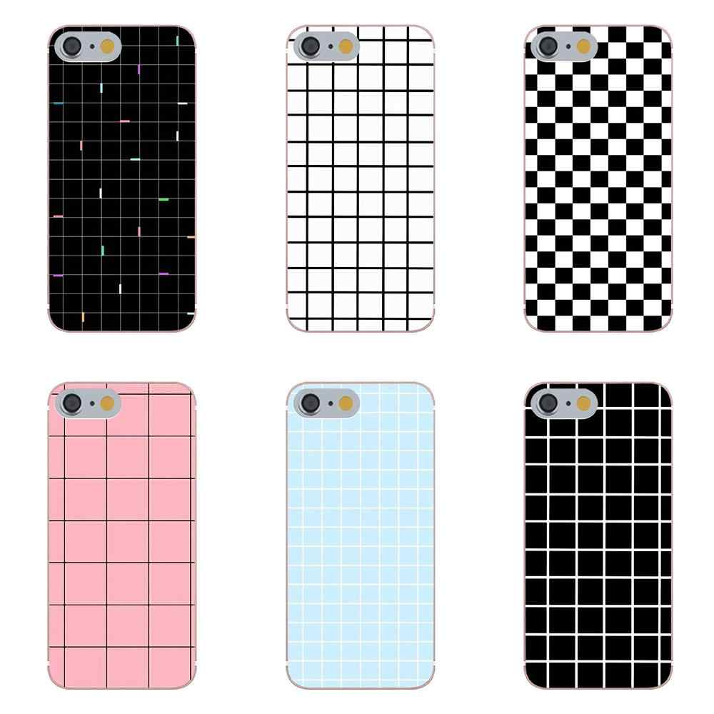 Tpwxnx Luxury Retro Black White Grid For Galaxy Alpha Core Prime Note 4 5 8 S3 S4 S5 S6 S7 S8 S9 mini edge Plus Soft Cell Phone