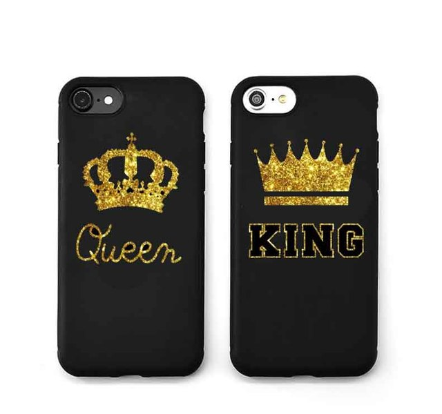 release date: 9c3c5 69787 US $1.97 42% OFF|Fashion Brand Golden Best couple King Quee Black silicone  TPU Phone Cover Case for iPhone X 5 5S SE 6 6SPlus 7 7Plus 8 8Plus-in ...