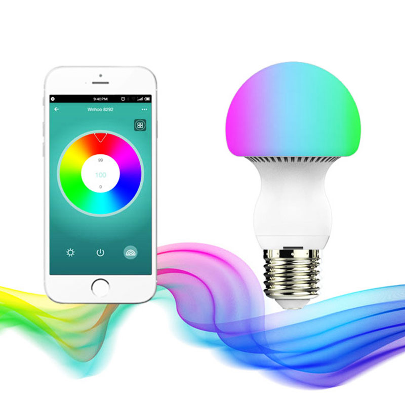 Dimmable Bluetooth  Mushroom bulb   E27 LED AC85-265V Intelligent  Adjustable RGB LED Bulb smart dimmable mushroom led bulb household intelligent lighting rgb e27 600lm ac85 265v switchable for ios and android