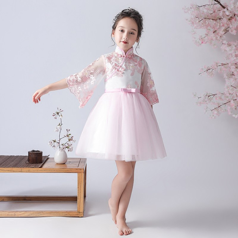 Embroidery Flower Girl Dresses for Wedding Chinese Style Stand Collar Kids Pageant Dress for Birthday Flare Sleeve Prom Dress sweet stand collar long sleeve waist tied flare blouse for women