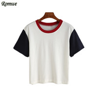 ROMWE Tops Fashion Women New Arrival Cute Korean Style Tops 2016 Newest Short Sleeve Crew Neck