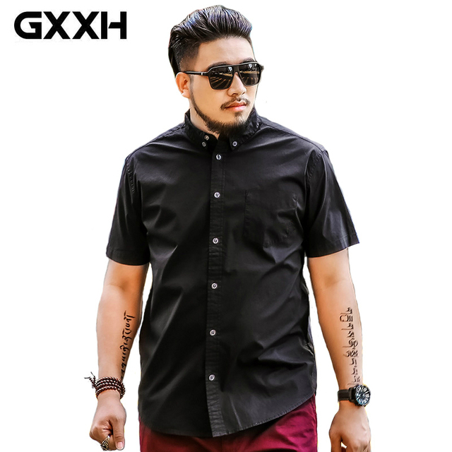 0036154cc62 Oversize Men GXXH Plus Size Mens Shirts Brand Fashion Spring Summer Men  Shirt Short Sleeve Casual Male Big and Tall Black Shirt