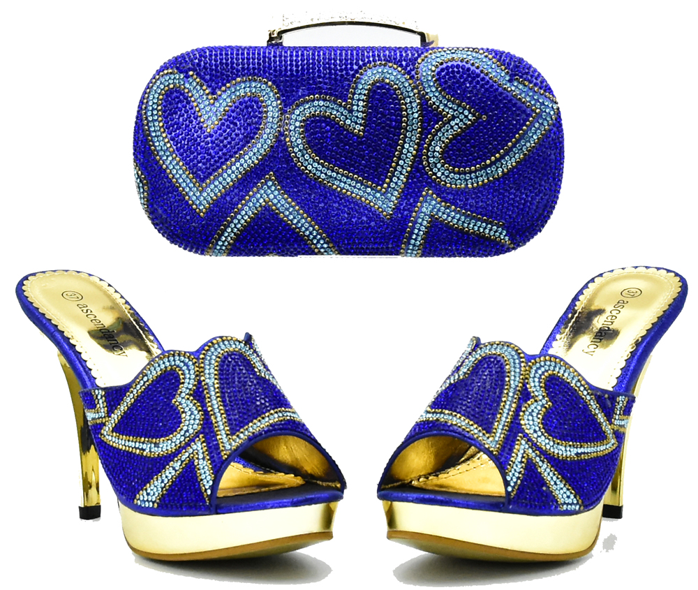 SB8154-3 sweet heart sharp stones design slippers with clutches bag mix color royal blue and turquoise blue nice shoes and bag sweet women s tote bag with metallic and bowknot design