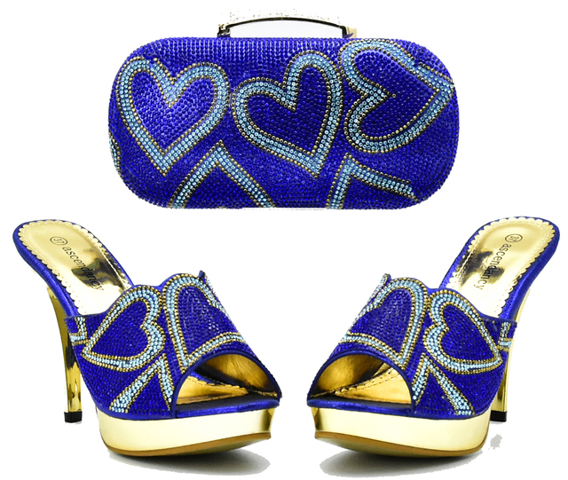 SB8154-3 sweet heart sharp stones design slippers with clutches bag mix  color royal blue and turquoise blue nice shoes and bag e412f7fb24f6