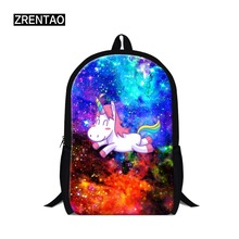 ZRENTAO children unicorn backpack teenagers cartoon backpack for primary pupils polyester mochilas double zipper travel rugzak drawstring bow double zipper backpack