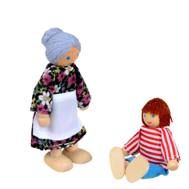 Wooden Doll Toys Infant Baby A Family Of 4 People Parent-child Joint Dolls