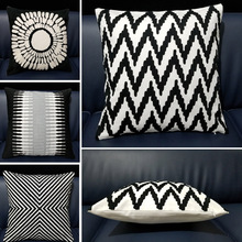 Home Decorative Black White Cushion Cover Embroidered Square Embroidery Pillow 45x45cm Sofa Geometric Pillows