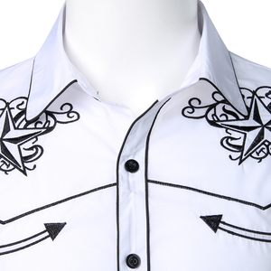 Image 4 - Double Star Embroidery White Tuxedo Shirt Men Slim Fit Long Sleeve Dress Shirts Mens Wedding Party Banquet Social Shirt Male 2XL