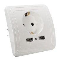 Nuovo adattatore per caricabatterie da parete con doppia porta USB ricarica adattatore per presa per stazione di ricarica da parete 2A interruttore per presa di corrente con presa EU