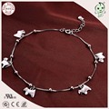 Good Quality Trendy100% 925 Real Silver  Anklets Chain With Five Silver Hobbyhorse Charms