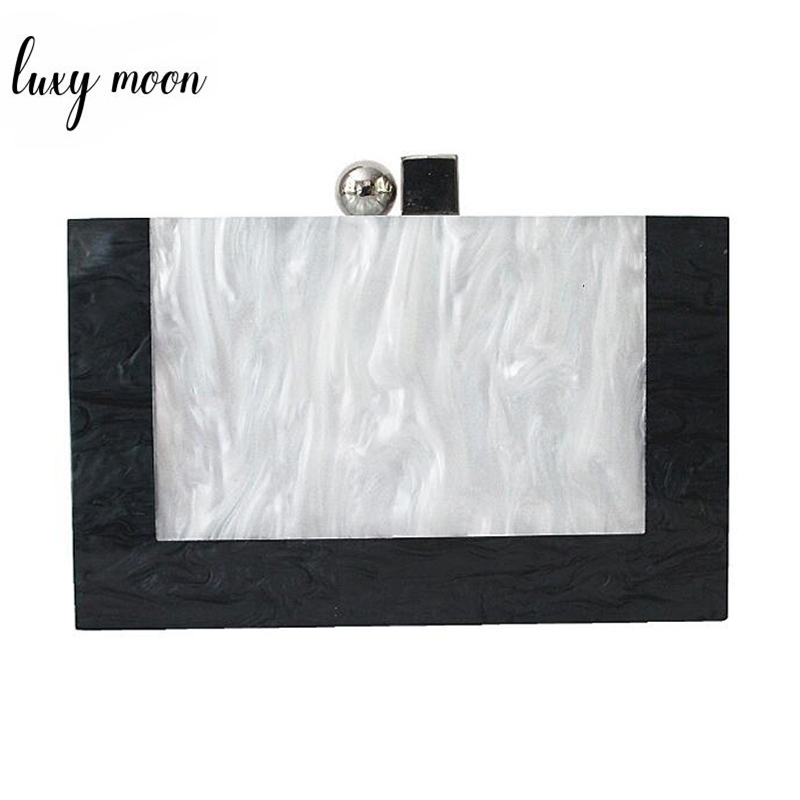 Fashion Women Bag Acrylic Evening Bag High Quality Marble Patchwork Clutches Female Shoulder Bag Party Casual Clutch ZD1185