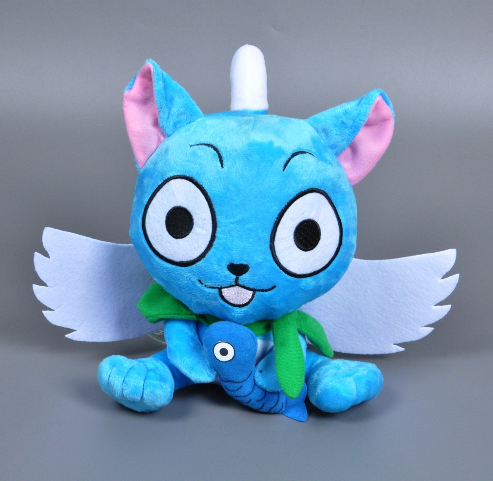 Anime Cat With Wings 25cm fairy tail happy cat with fish plush toy kawaii naz cat