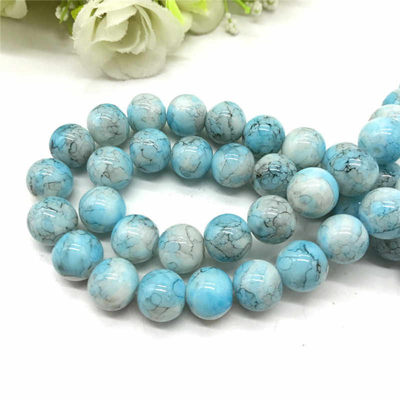 Wholesale 6 8 10mm pattern glass bead spacer jewelry Bulk Beads For DIY Making Bracelet Necklace Jewelry #01