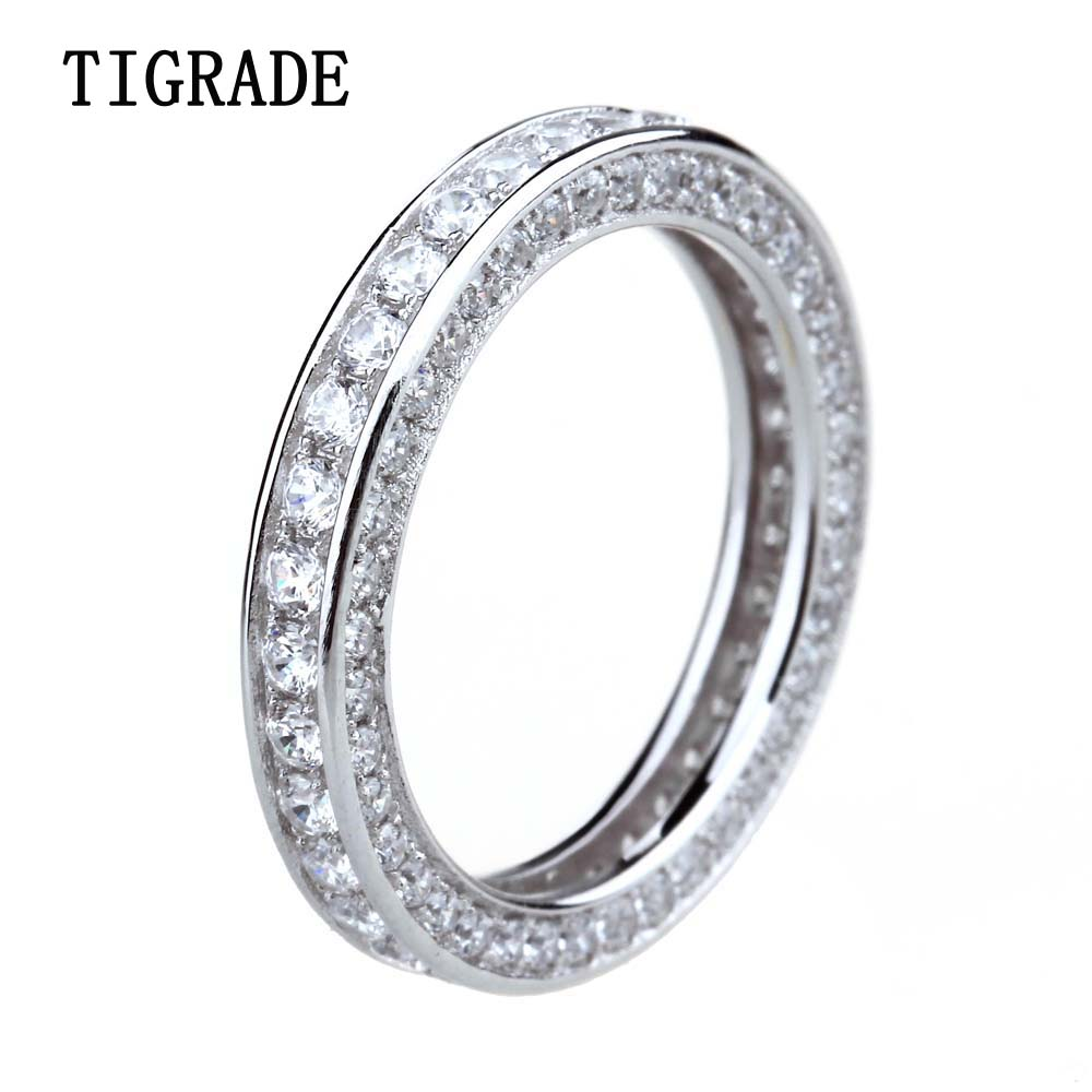 Tigrade נשים טבעת כסף סטרלינג 925 מעוקב Zirconia חתונת אירוסין בנד בנות נשי טבעת אצבע Anillo פלטה Mujer Bague