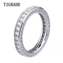 Tigrade кольцо стерлингового серебра 925 женщин Кубического Циркония Обручальное группа женские девушки палец кольцо Anillo плата Mujer Bague