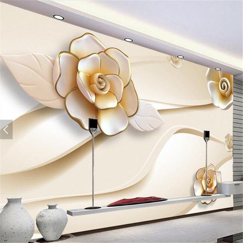 beibehang Custom Photo Wallpaper Sticker Wall Fresco 3D Stereo Relief Rose