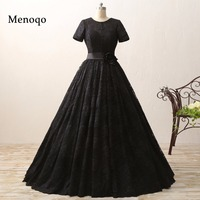 2017 New Arrival Real Sample Women Bridal Gown Wedding Dress Black Sexy Short Sleeve Ball Gown