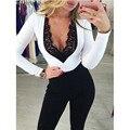 Monos 1PC Women Long Sleeve Lace Jumpsuit Bodysuit Rompers Playsuit Clubwear Gift For Women New Arrival D22