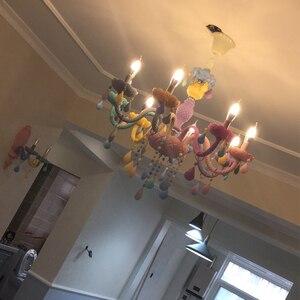 Image 3 - גביש נברשת ילדי חדר שינה אור צבעוני זכוכית נברשות סלון פנטזיה Luminaire זכוכית צבעונית זוהר
