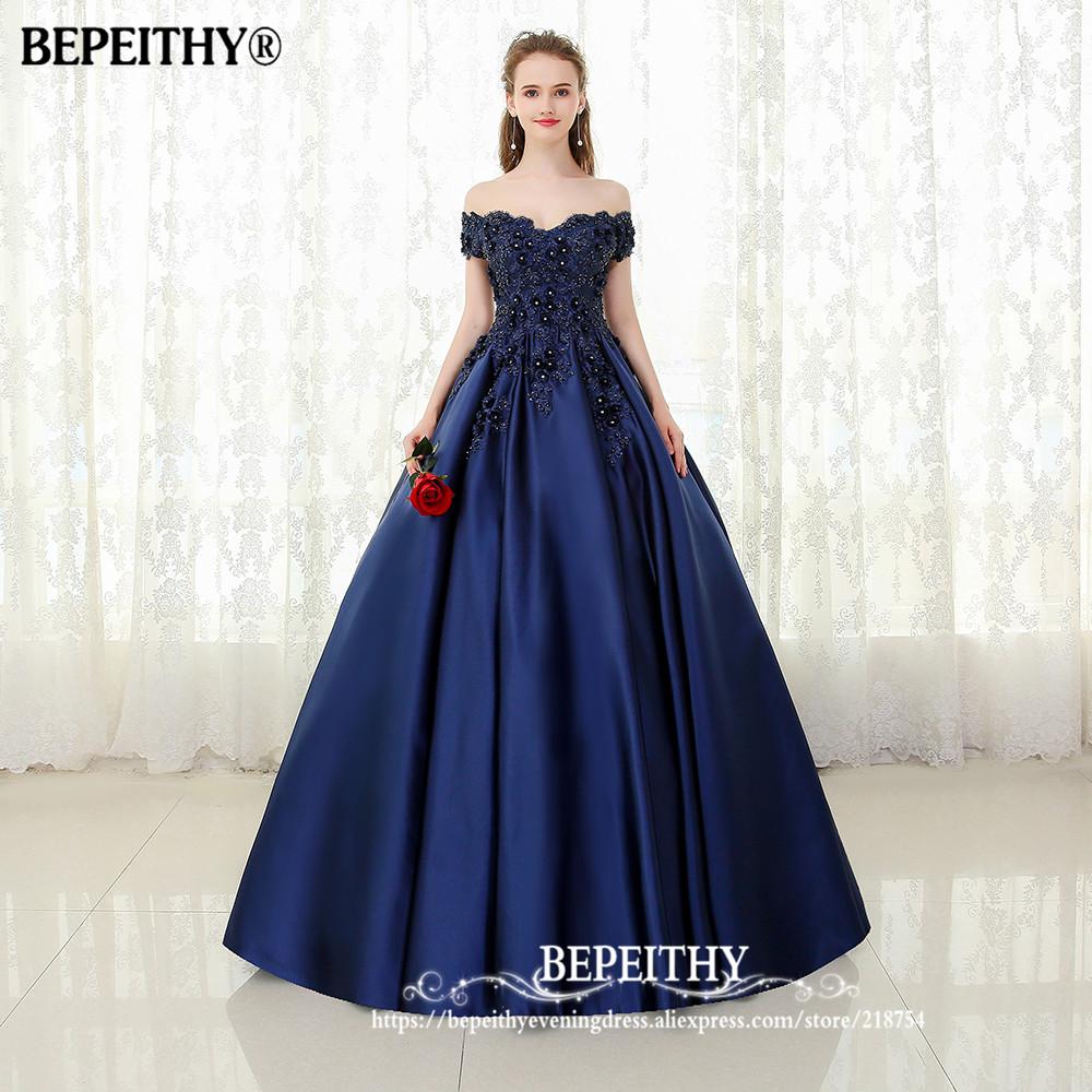 BEPEITHY V neck Navy Blue Long Evening Dress Lace Beaded Vintage ...