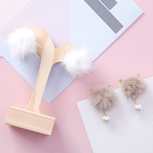 Fashion Lovely Cat Ear Fur Ball Earrings for Girls Women Pearl Pendant Statement PomPom Stud Earring Cute Gift Jewelry A6302(China)