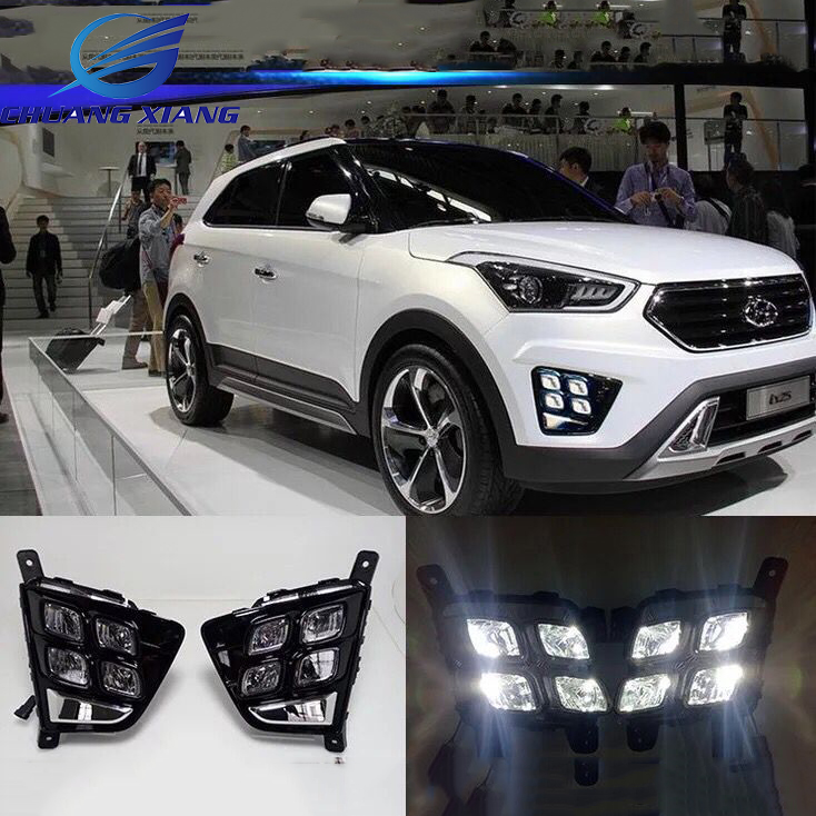 DRL Front Daytime Running Light Fog Lamp For Hyundai IX25 Creta 2014 2015 2016 2017 Accessories one stop shopping for k2 drl 2014 2015 new rio led drl k2 daytime running light fog lamp automotive accessories