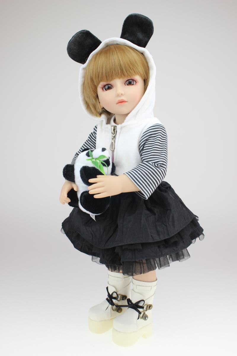 18 Inch 45cm Lifelike SD BJD Doll Toys Vinyl Reborn Baby dolls with dresses MJL987 18 inch 45cm new lifelike vinyl reborn baby doll full vinyl sd bjd body dolls with clothes for girls gh587