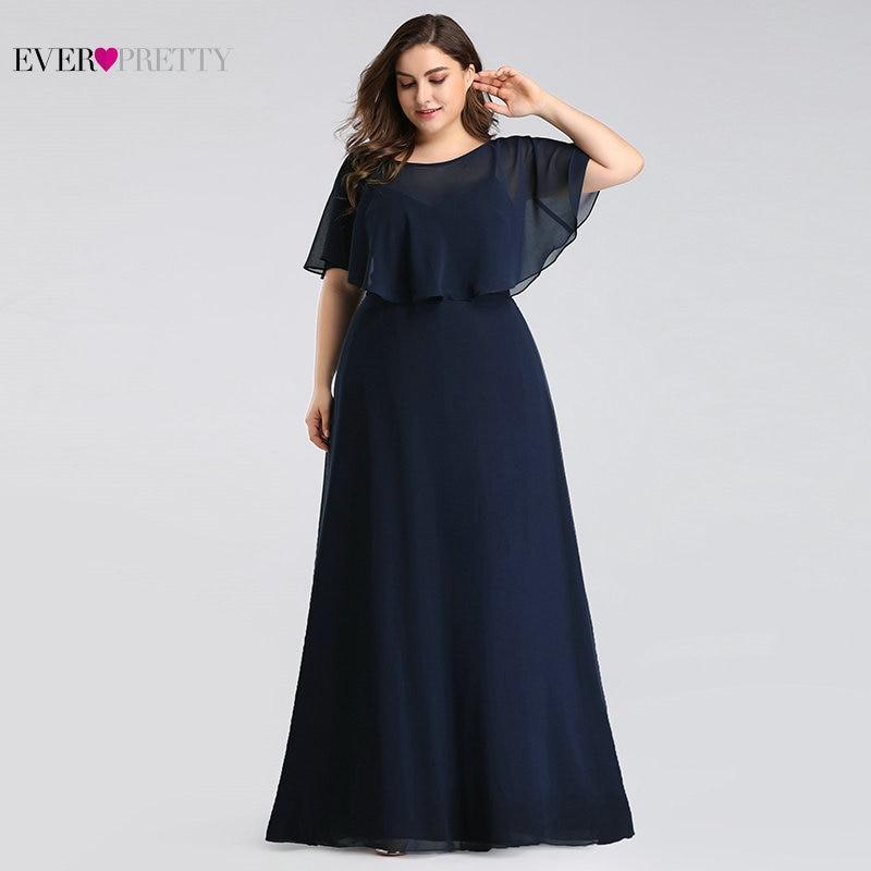 Мать невесты платья плюс Размеры тех Довольно EZ07762 дешевый темно-синий шифоновое платье трапециевидной формы Длинное Элегантное вечернее п...