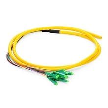 QIALAN 1.5m (5ft) 12 Fibers LC/APC 9/125 Single Mode Bunch Fiber Optic Pigtail - 0.9mm PVC Jacket 1m 12 fibers pigtail lc sc fc upc 50 125 multimode om3 bunch 12 core fiber optic pigtail 0 9mm pvc jacket