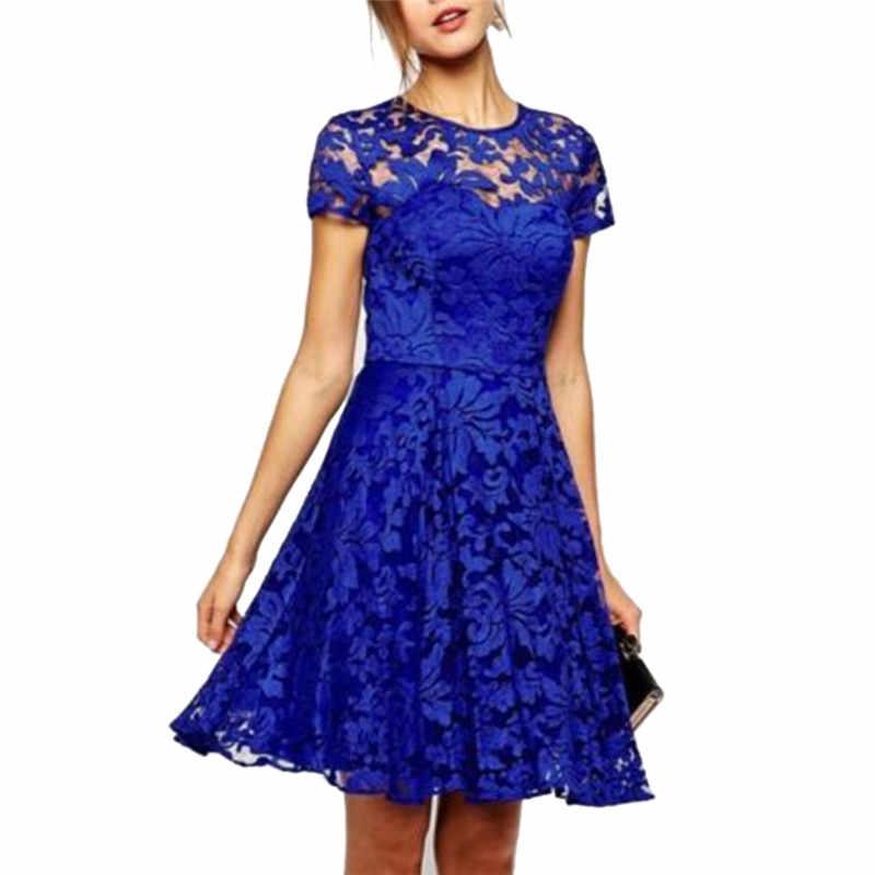 c1455554e2d Fashion Women Summer Sweet Hollow Out Lace Dress Sexy Party Princess Slim  Dresses Vestidos 5XL Plus