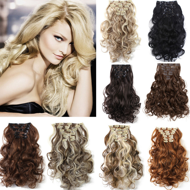 1Set Clip On Hair Extension 50cm 20inch 7pcs/set Natural Hairpieces Hair Piece Wavy Curly Synthetic Clip In Hair Extensions 999