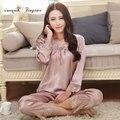 2016 de Alta qualidade pijama terno completo manga Sexy Com Decote Em V pijamas mulheres salão wear M-XXL respirável macio desgaste do sono