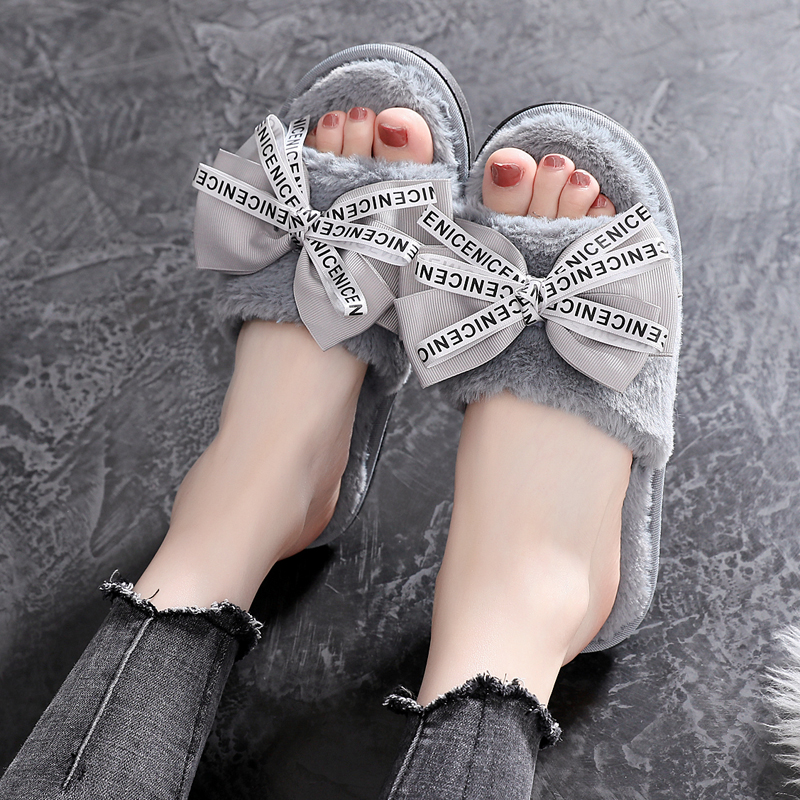 Butterfly knot Winter Women Slippers Flats Short Plush Indoor Home Warm Open toe Ladies Shoes Big Size 36 41 in Slippers from Shoes