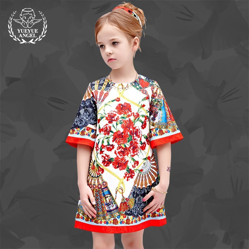 2018 Fashion Spring Kid Jurk Meisje Girls Summer Floral Dress Princess Chinese Style Hot New Half Sleeve Short Robe Fille kid girls sweater lace dress 2018 spring