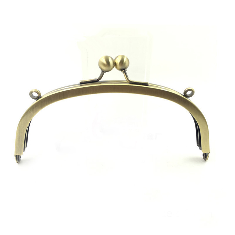Metal Purse Frame 10 Inch Wide Double Loops Curved bronze