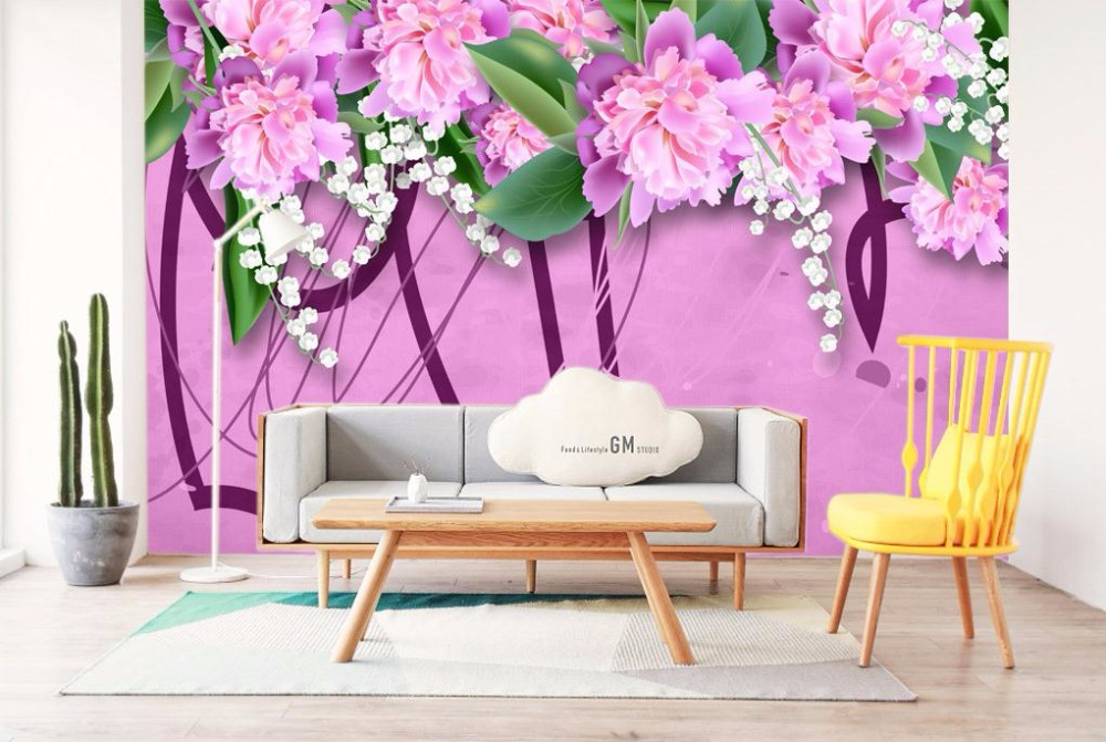 custom 3 d stereo nordic modern desktop wallpaper pink background wall murals living room decor house wallpaper beautiful flower