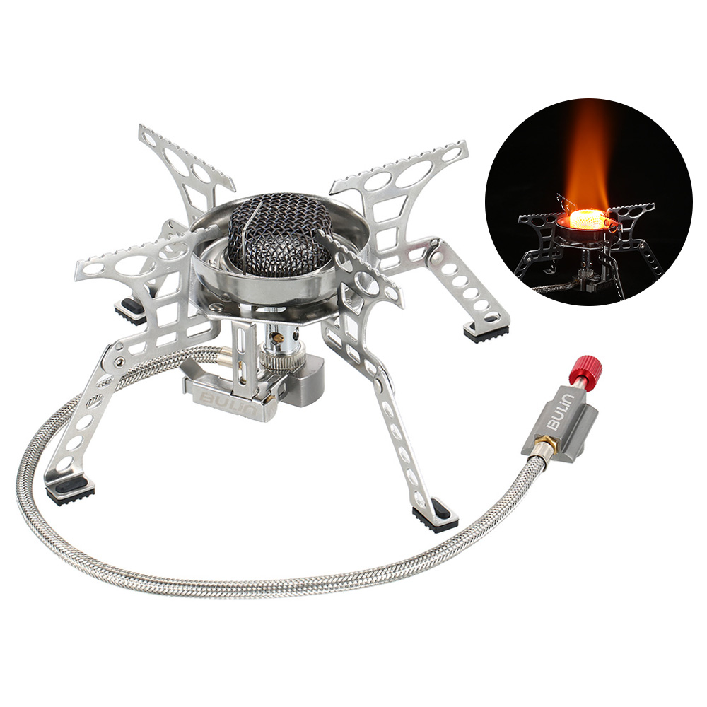 BULIN Stainless Steel Camping Stove Outdoor Windproof Gas Stove Mini stove Ultralight Pocket Gas Powered Cooking