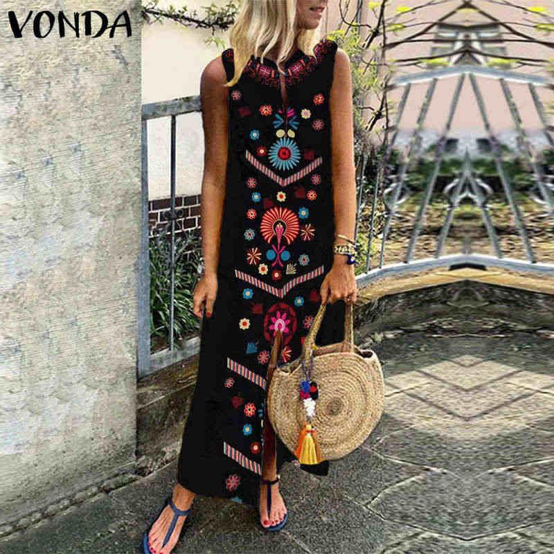 092d4459e7c5 ... VONDA Women Vintage Print Maxi Dress 2019 Boho Summer Sleeveless Split  Party Long Shirt Dresses Casual