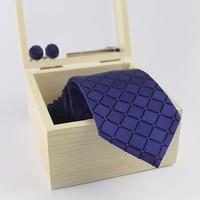 3.35inch Wide 100% Silk Tie Man Wedding Business Tie Paisley Jacquard Arrow Men Tie, Pin,Cufflinks Wooden Gift Box Packaging
