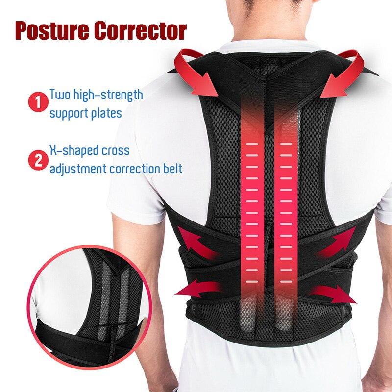 Adjustable Posture Corrector Back Support Shoulder Lumbar Brace Support Corset Back Belt for Men Women Improve Shoulder Upper