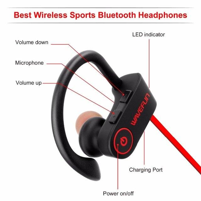 Headphone sports bass bluetooth earphone with mic for phone iPhone xiaomi Wavefun bluetooth headphones IPX7 waterproof wireless