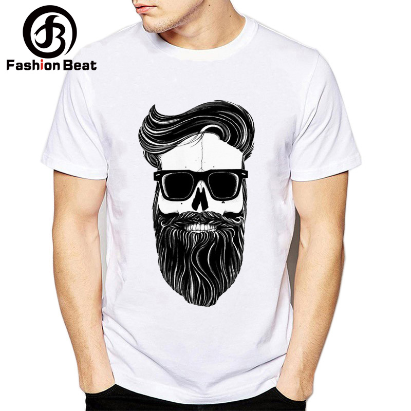 f70440a84 Funny Bearded Men Beard Skull Tshirt Men Super Soft T Shirt Homme Short  Sleeve Plus Size