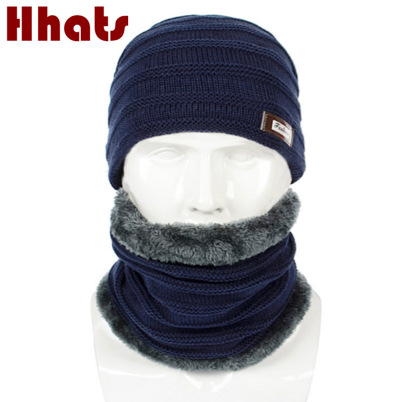 Thickened Warm Fleece Lining Winter Hat And Scarf Set For Men Solid Male Knitted Hat With Neck Warmer Cover Plus Velvet Bonnet