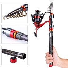 Sougayilang 1.8-3.0M Telescopic Fishing Rod and 13+1BB Spinning Fishing Reel Rock Boat Saltwater Fishing Rod and Reel Combo