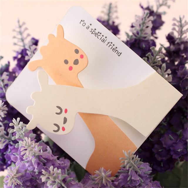 creative cute greeting card animals birthday new year card with an envelope blessing thanks card festive