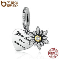 BAMOER 925 Sterling Silver Snowflake Heart Clear CZ Beads Charms Fit Bracelets Women DIY Fashion Accessories