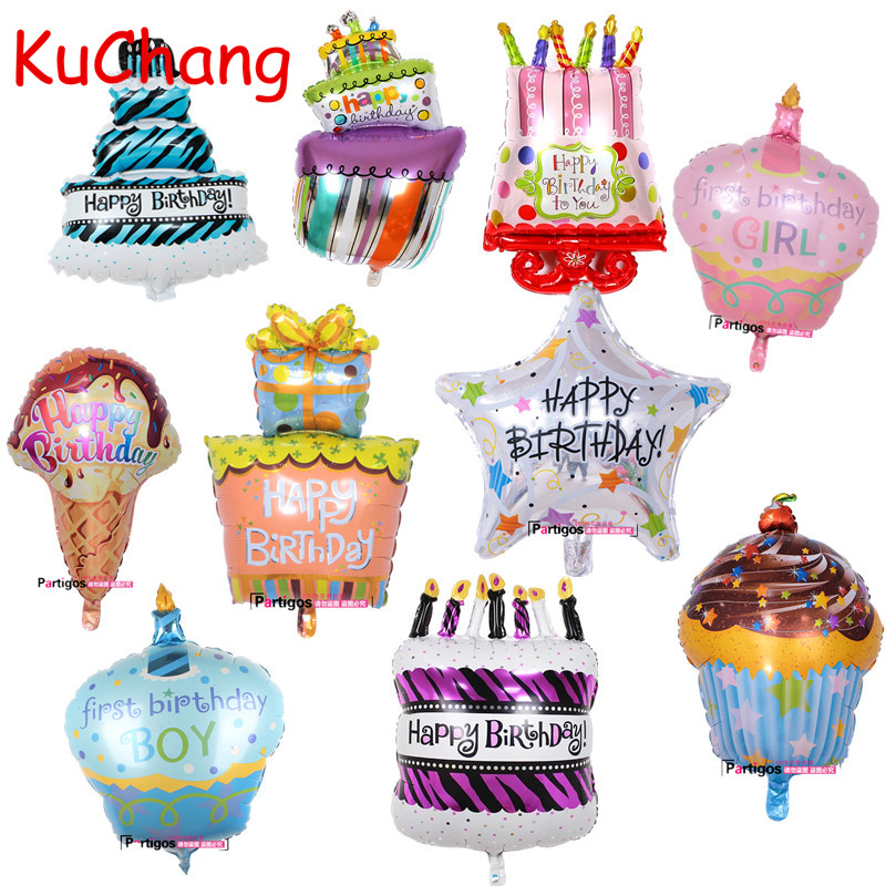 100*68cm large Birthday Cake Foil helium Balloons Birthday Party Decorations Kids Baby Showers globos Inflatable Air Balls