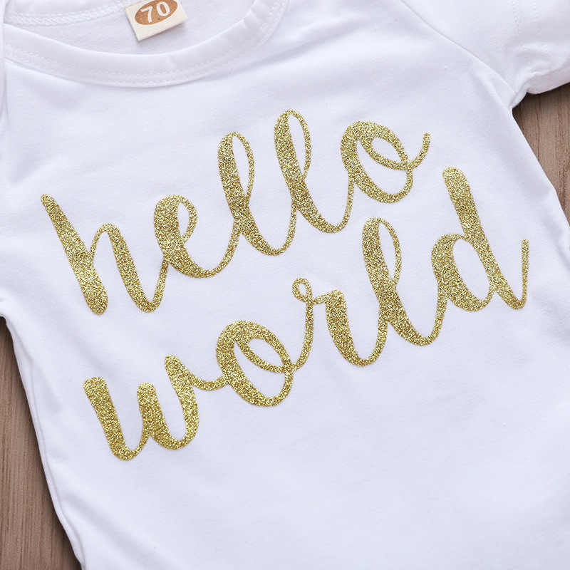 EAZII Hello World Print noworodek niemowlęcy śpioszki dziewczęce kombinezon z bielizną z krótkim rękawem strój letni strój 0-24M