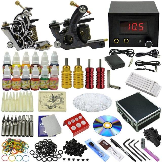 OPHIR 355pcs/set  Pro Power Supply Tattoo Kits for Body Art 2 Rotary Tattoo Machine Guns 12 Color Tattoo Inks Pigment #TA073