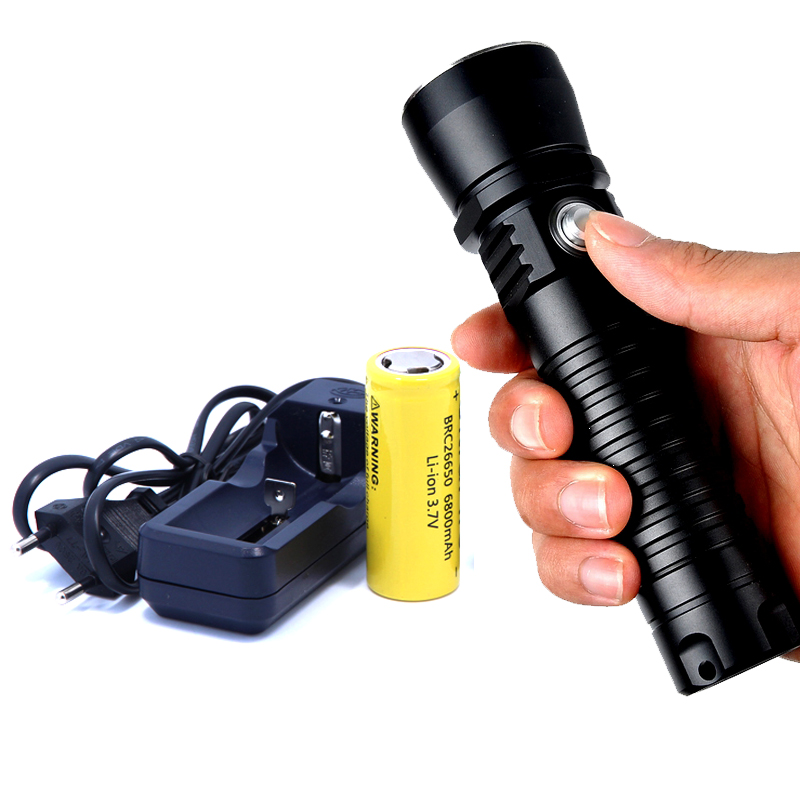 2016 New DV14 XM-L2 2000lm Diving Flashlight Underwater LED Diving Flashlights Lamp Dive Torch Light + 26650 Battery + Charger